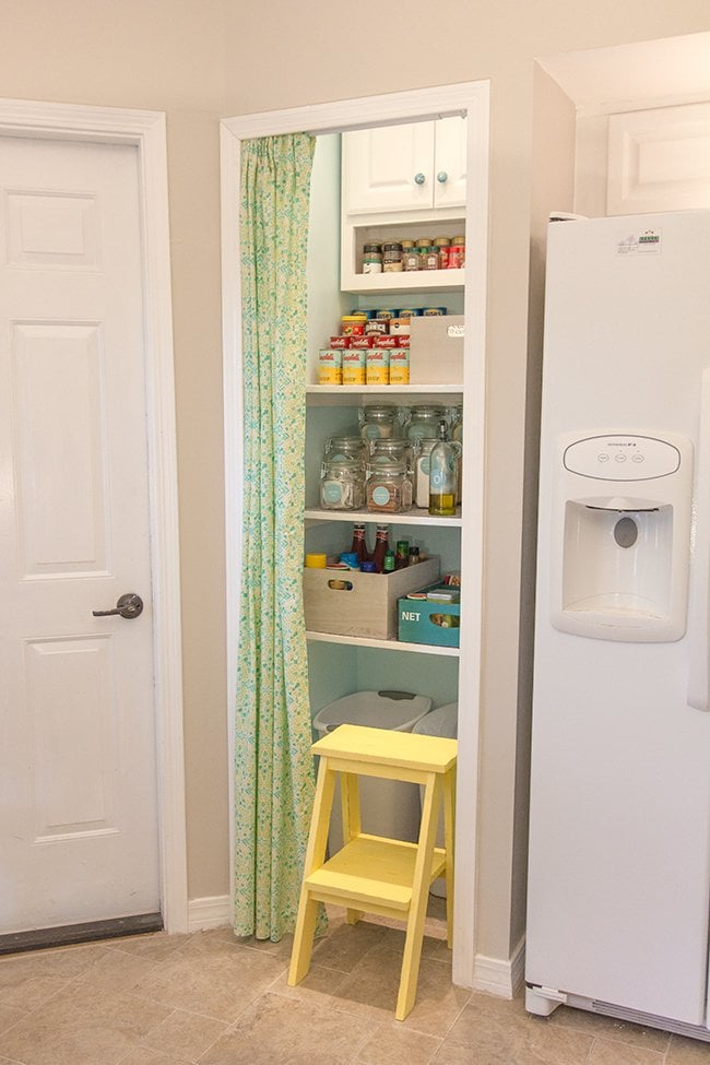 Pantry Details: No Sew Curtain, Tiered Shelf, U0026 Step Stool | Jenna Sue  Design Blog
