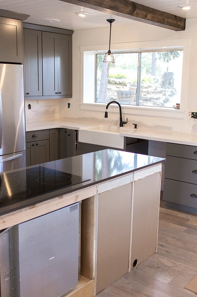 Kitchen Chronicles The Counters Are In Pendant Light And Faucet Preview Jenna Sue Design Blog