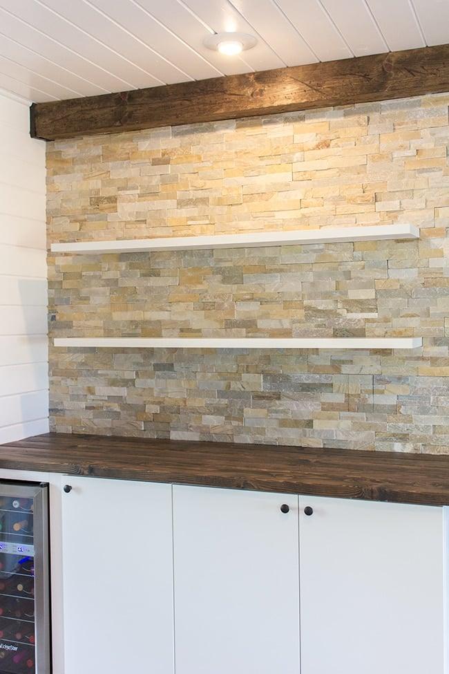 kitchen chronicles stacked stone bar wall u0026 diy floating shelves jenna sue design blog