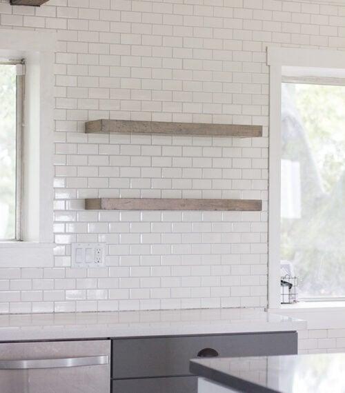 DIY rustic floating kitchen shelves