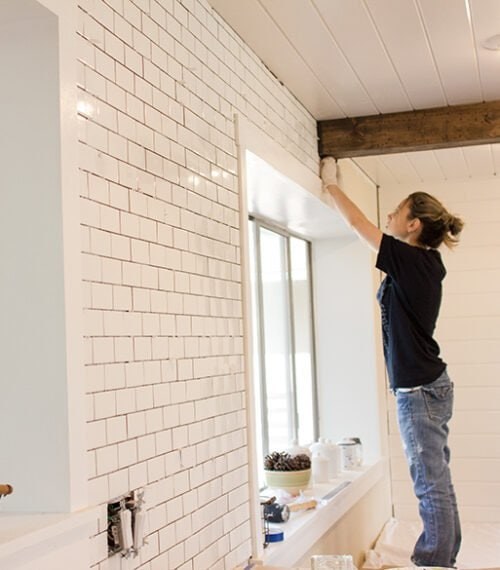 kitchen subway tile install diy