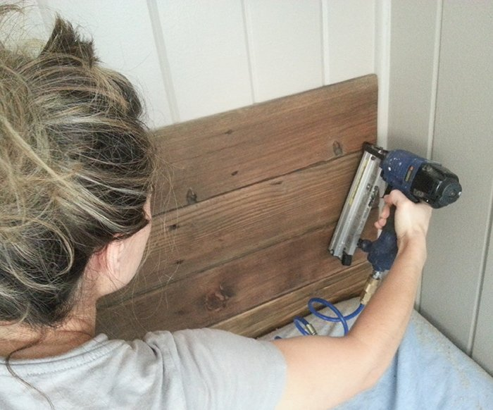 DIY Rustic Wood Headboard & Light (for under $45!) | Jenna ...