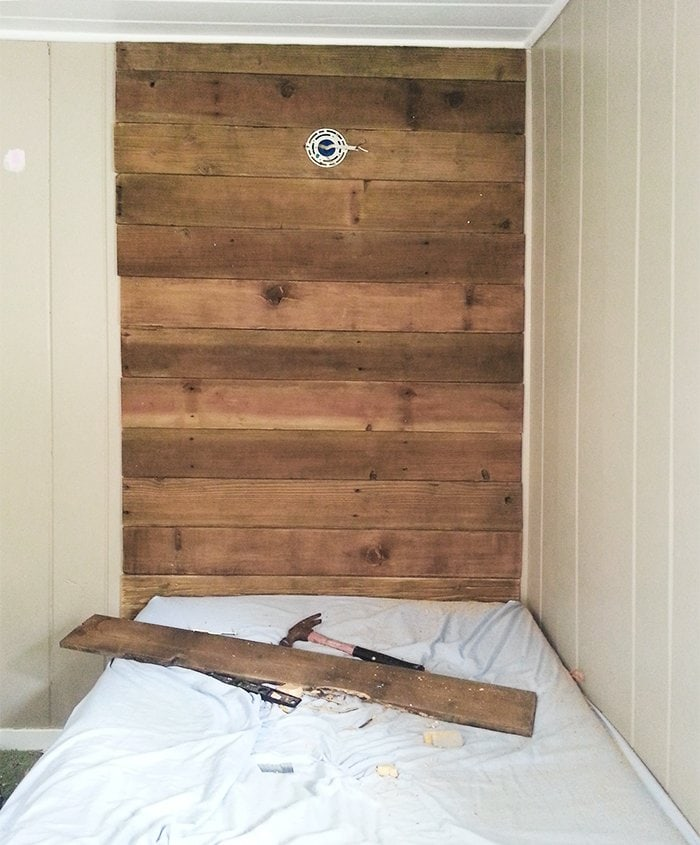Diy rustic wood headboard light for under 45 jenna for Rustic headboard with lights