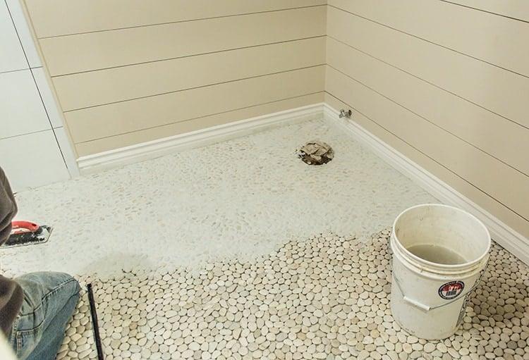Pebble Tile A Master Bathroom Update