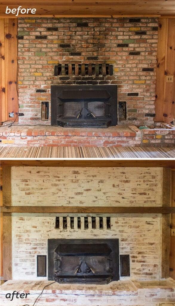 Masonry Fire Brick Mortars : Mortar wash brick fireplace tutorial cottage flip update