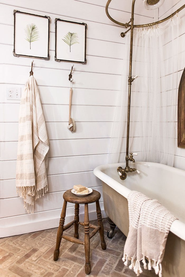 Upstairs bathroom cottage house flip reveal jenna sue for Farmhouse bathroom tile design ideas