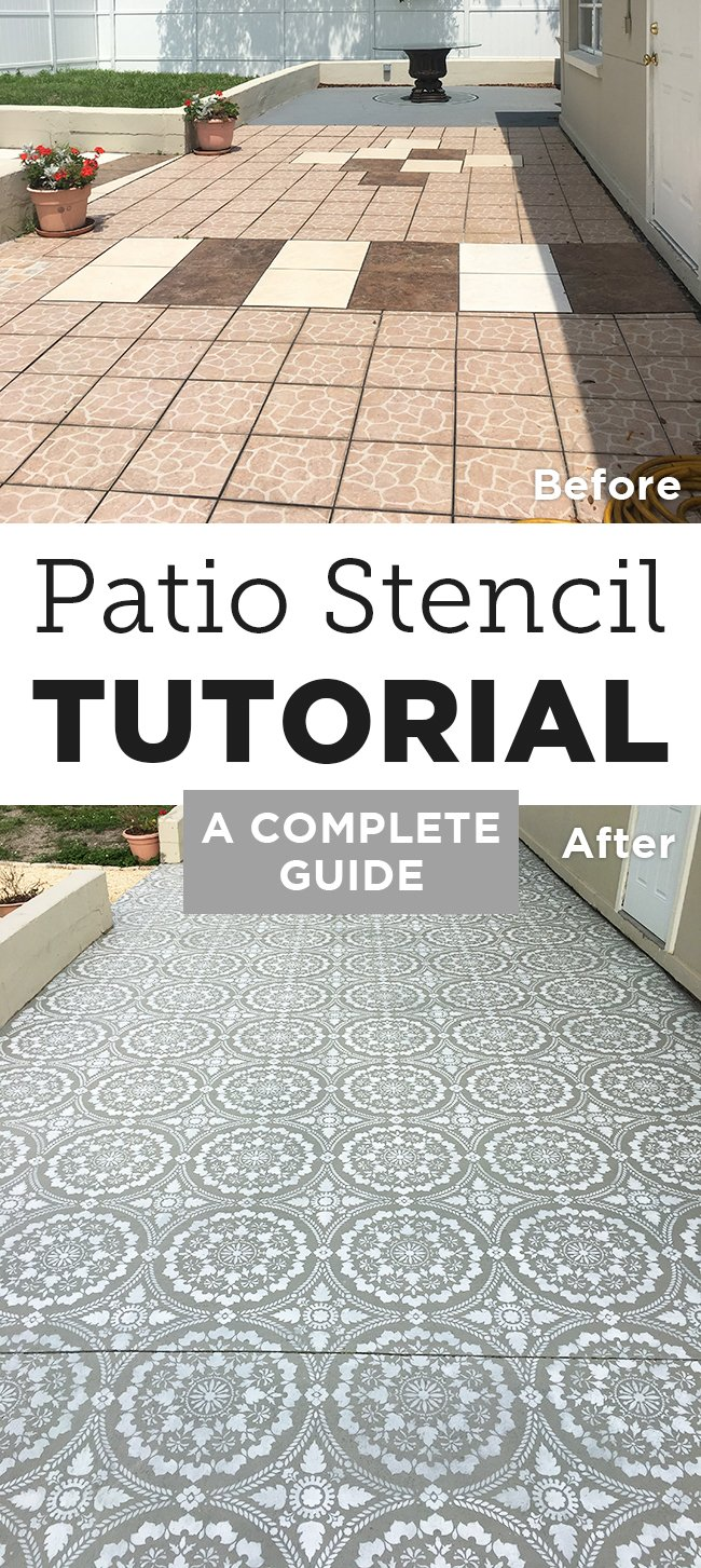 Stenciled Patio Makeover Tutorial | Jenna Sue Design Blog on kitchen flooring ideas, small galley kitchen design ideas, kitchen floor makeovers, kitchen area rugs, kitchen painted floor stencil, kitchen floor tile, stained concrete floor ideas,