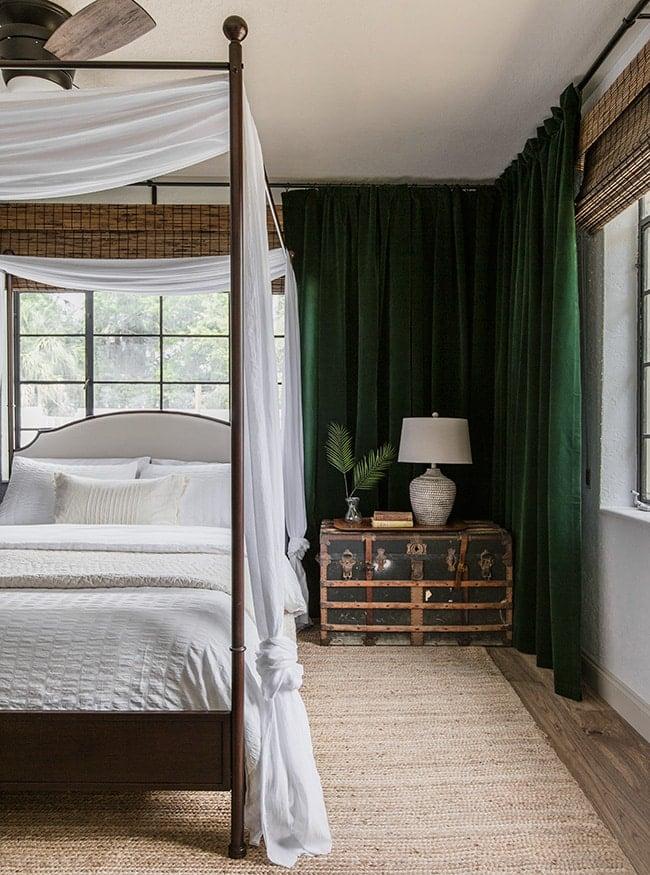 green velvet curtains