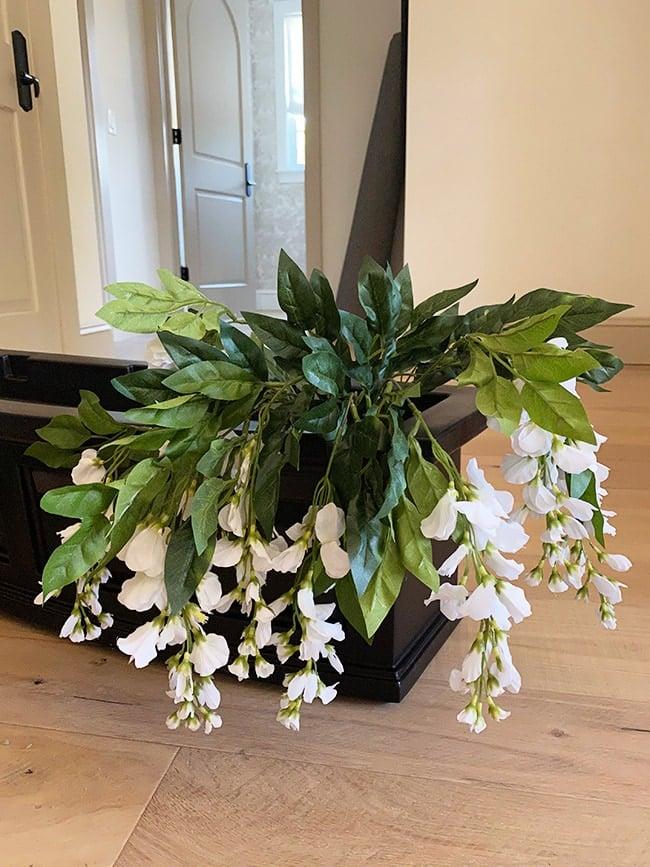 outdoor planter box faux flower