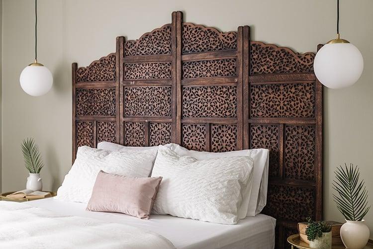 wood room divider headboard
