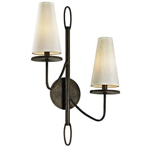 black two light wall sconce