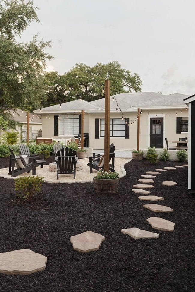 backyard black mulch stones