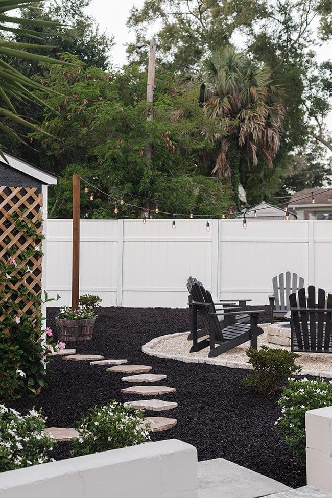 diy backyard black mulch