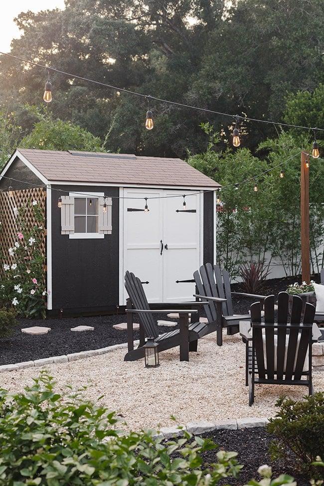 black shed backyard