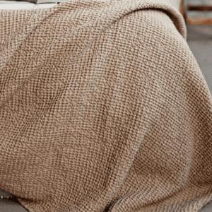 beige linen Waffle Blanket