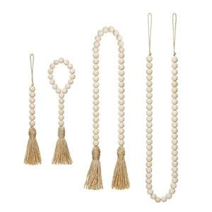 wood beads with tassel