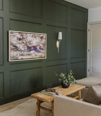 diy green panel wall